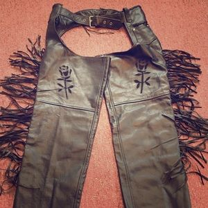 Other - Fringe Premium Leather Chaps Motorcycle Pant XL